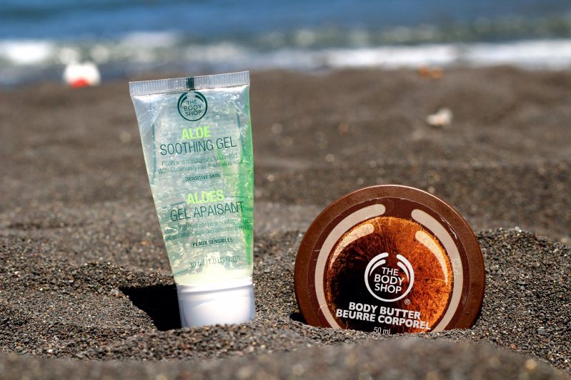 The Body Shop Aloe Vera Soothing Gel, The Body Shop Coconut Body Butter.