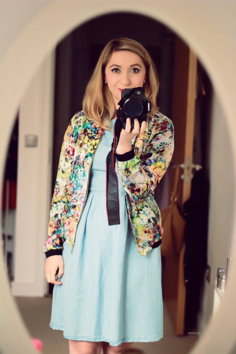 Zara Floral Bomber Jacket (old)// H&M Conscious Collection Light Denim Dress (new!)// Zara Pink Metallic Flats (old).