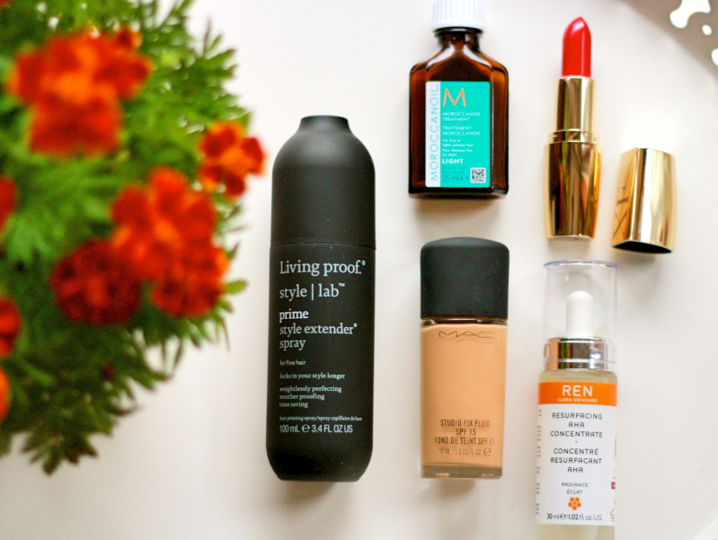 Style Lab Living Proof Style Extender Spray// Morrocan Oil Light// Mac Studio Fix Foundation// Ren Resurfacing AHA Concentrate// Avon Luxe Lipstick.