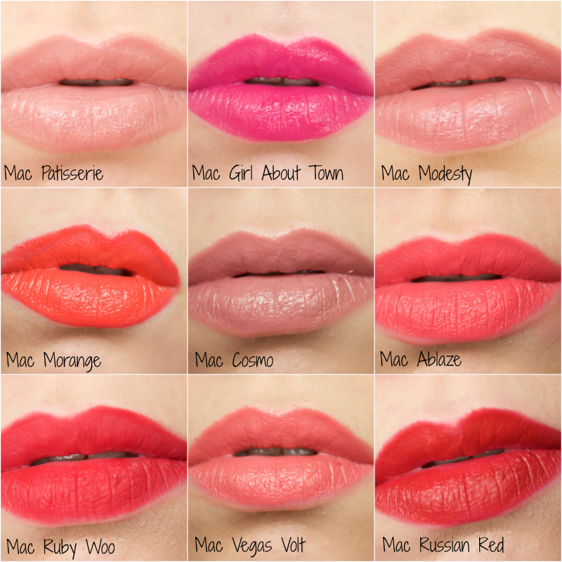 mac lipstick collection and swatches